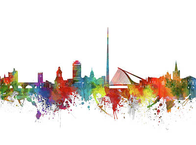Abstract Skyline Royalty-Free and Rights-Managed Images - Dublin Skyline Watercolor 2 by Bekim M