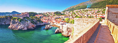 Farm Life Paintings Rob Moline Royalty Free Images - Dubrovnik bay and historic walls panoramic view Royalty-Free Image by Brch Photography