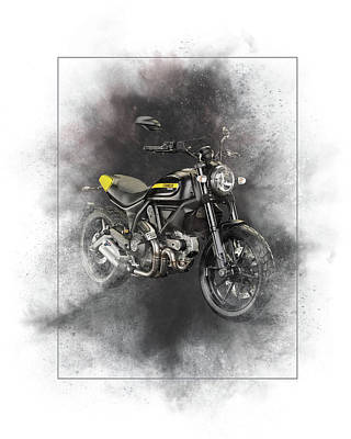 Mixed Media - Ducati Scrambler Painting by Smart Aviation