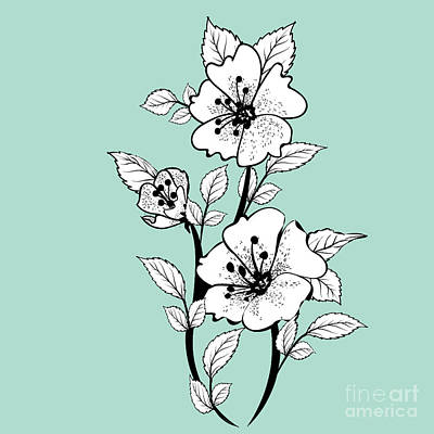 Digital Art - Duchess Teal And White Smoke Flowers Tile by Sharon Mau