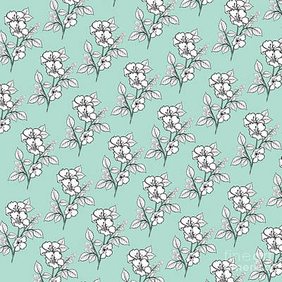 Photograph - Duchess Teal White Flowers by Sharon Mau