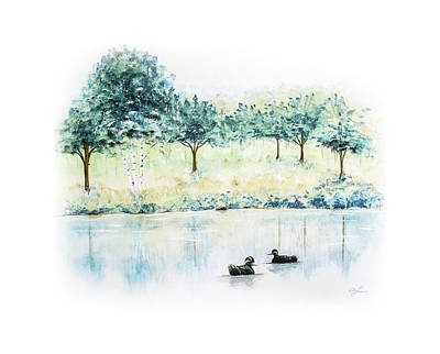 Painting - Ducks On Lake by Ann Lauwers