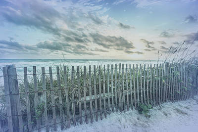 Photograph - Dune Fences At The Sea In Cool Blues by Debra and Dave Vanderlaan