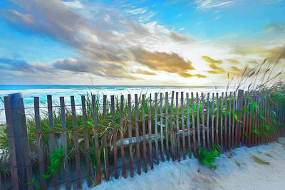 Photograph - Dune Fences At The Sea Watercolors by Debra and Dave Vanderlaan