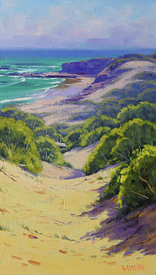 Coastal Scene Wall Art - Painting - Dunes To The Beach by Graham Gercken