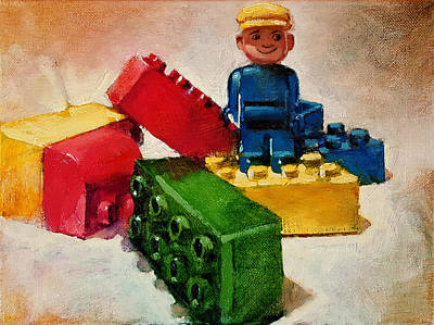 Food And Flowers Still Life - Duplo Man by Dan Nelson