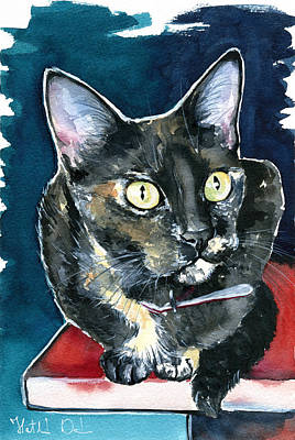 Painting - Duquesa Tortie Cat Painting by Dora Hathazi Mendes