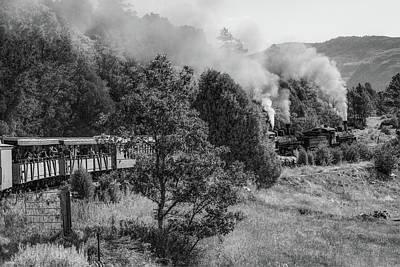 Photograph - Durango Railroad Blowing Smoke - Colorado Mountain Landscape - Black And White by Gregory Ballos