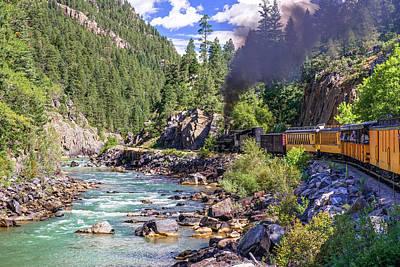 Photograph - Durango Silverton Colorado Train Along The Animas River by Gregory Ballos