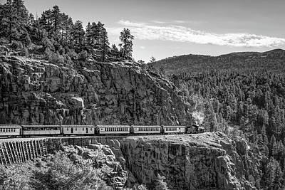 Photograph - Durango Silverton Railroad Train Crossing The High Line - Monochrome by Gregory Ballos
