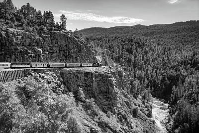 Photograph - Durango Silverton Train On The High Line - Black And White by Gregory Ballos