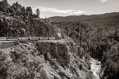 Photograph - Durango Silverton Train On The High Line - Sepia by Gregory Ballos