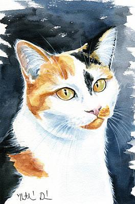 Painting - Dushi Calico Cat Painting by Dora Hathazi Mendes