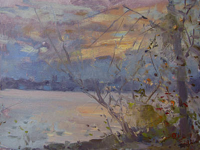 Dusk Wall Art - Painting - Dusk At Fishermens Park by Ylli Haruni