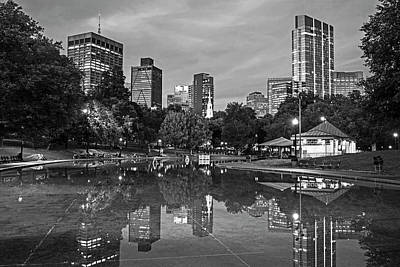 Photograph - Dusk At The Boston Common Frog Pond Skyline Reflection Black And White by Toby McGuire