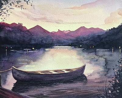 Maps Maps And More Maps - Dusk Canoe by Luisa Millicent