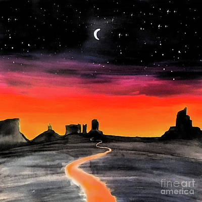 Painting - dusk in Monument Valley by Shelley Myers