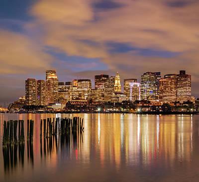 Photograph - Dusk Over Boston Harbor by Michael Blanchette