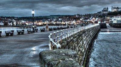 Thomas Kinkade Rights Managed Images - Dusk Over Whitby Harbour Royalty-Free Image by Chris Gill