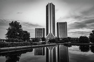 Photograph - Dusk Reflections Of The Tulsa Cityplex Towers - Monochrome by Gregory Ballos