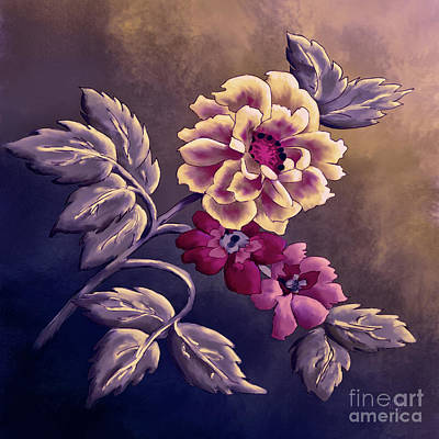 Digital Art - Dusky Wild Roses by Lois Bryan