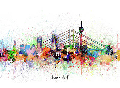 Abstract Skyline Royalty-Free and Rights-Managed Images - Dusseldorf Skyline Artistic by Bekim M