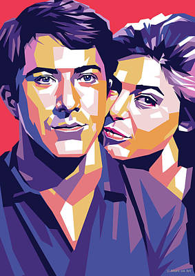 Royalty-Free and Rights-Managed Images - Dustin Hoffman and Anne Bancroft by Stars on Art