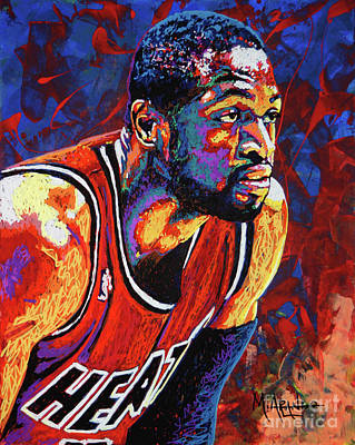 Shooting Wall Art - Painting - Dwyane Wade 3 by Maria Arango