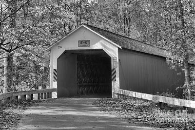Photograph - Eagleville Covered Bridge Black And White by Adam Jewell