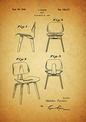 Drawing - Eames Chair Patent by Dan Sproul