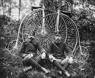 Photograph - Early Bicyclists Taking A Break By by Bettmann