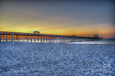 Photograph - Early Light Folly Beach South Carolina Pier Sunrise Art by Reid Callaway