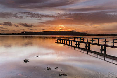 Photograph - Early Morning Clouds, Wharf And Reflections On The Bay by Merrillie Redden