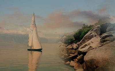 Mixed Media - Early Morning Sail - Mind The Rocks by Clive Littin