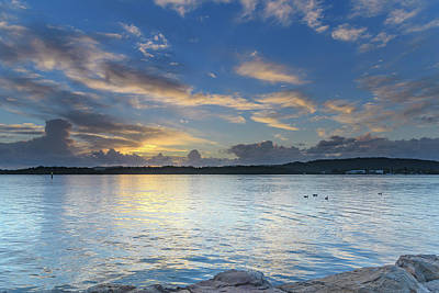 Just Desserts - Early Morning Waterscape with Clouds by Merrillie Redden