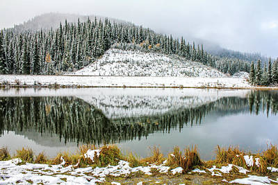 Photograph - Early Snow Covers The Hills By The Lake, Sibbald Lake Provincial by David Butler