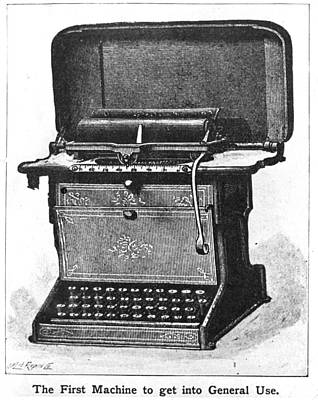 Early Typewriter Art Print by Hulton Archive