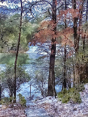 Digital Art - Early Winter At The Lake by Susan Leggett