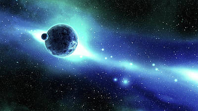 Blue Background Photograph - Earth And Moon Over The Galaxy In Space by Cemagraphics