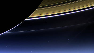 Photograph - Earth And Saturn - The Day Earth Smiled by Nasa
