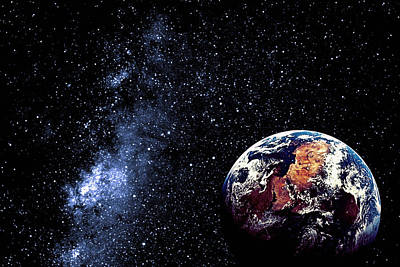 Photograph - Earth In Starry Sky by Chris Walsh