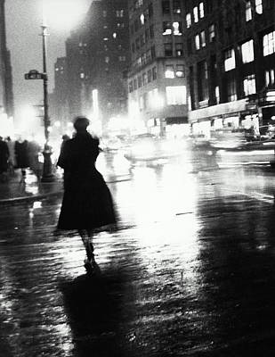Photograph - East 42nd Street At Night, New York by Alfred Gescheidt