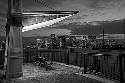 Photograph - East Boston At Dusk The Boston Skyline And Harbor Boston Ma Black And White by Toby McGuire