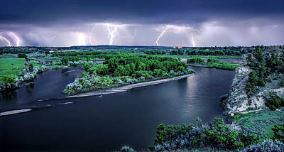 Photograph - East Montana Lightning Storm by Leland D Howard