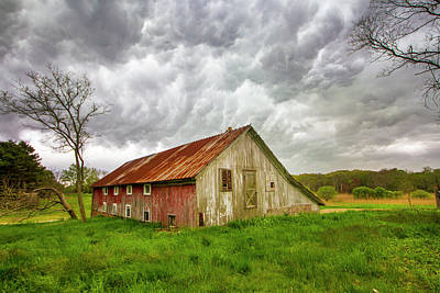 Photograph - East Moriches Red Barn Storm by Robert Seifert