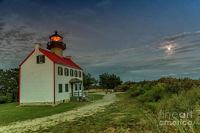 Photograph - East Point Lighthouse In Moonlight by Debra Fedchin