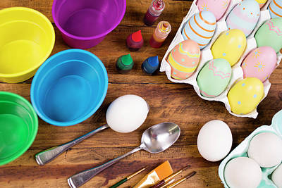 Easter Eggs Being Decorated On Wooden Art Print by Fstop123