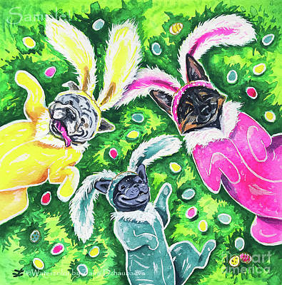 Painting - Easter Pups by Zaira Dzhaubaeva