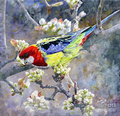 Painting - Easter Rosella in Nashi Pear by Ryn Shell