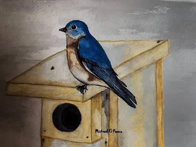 Painting Royalty Free Images - Eastern Bluebird Royalty-Free Image by Michael Panno
